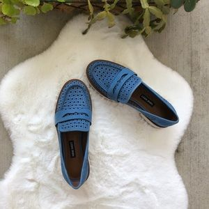 Nine West Blue Leather Platform Loafers